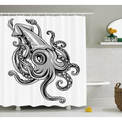 Kraken Animal Cuttlefish Sea Shower Curtain Size: 69 W x 84 L