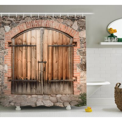 Wooden Tuscany Stone House Shower Curtain Size: 69 W x 70 L