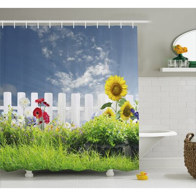 Bleeker Daisy Flowers in Yard Shower Curtain Size: 69 W x 84 L