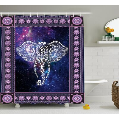 Azariah Space Galaxy Elephant Shower Curtain Size: 69 W x 75 L
