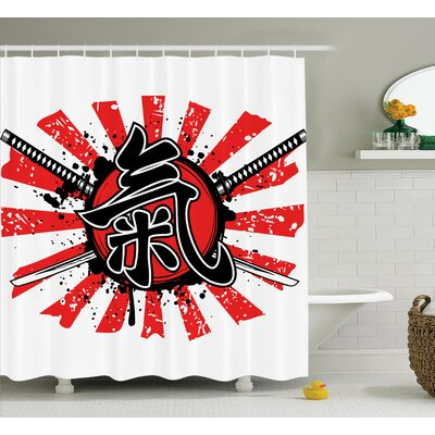 Japanese Swords Armor Pop Art Shower Curtain Size: 69 W x 84 L