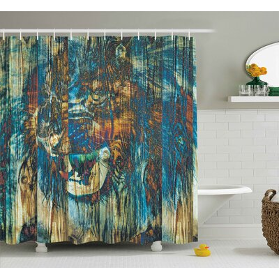 Safari Rustic Timber Wild Lion Shower Curtain Size: 69 W x 75 L