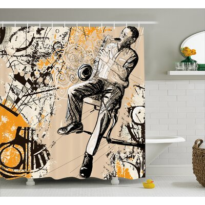 Howe Saxophone Music Rythim Print Shower Curtain Size: 69 W x 70 L