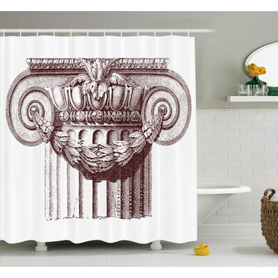 Ancient Antique Column Roman Shower Curtain Size: 69 W x 75 L