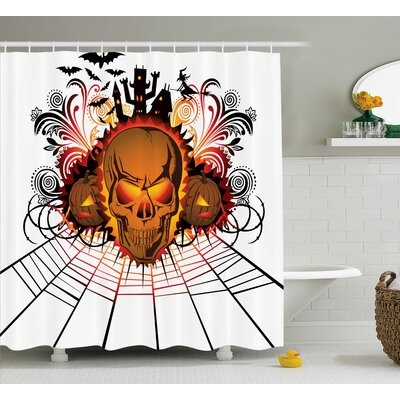 Halloween Decor Skull Witch Shower Curtain Size: 69 W x 75 L