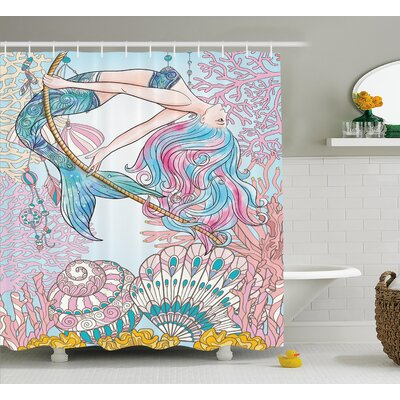 Mackenzie Greek Myth Seashell Shower Curtain Size: 69 W x 70 L