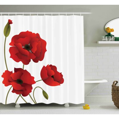 Flowers Petals and Buds Shower Curtain Size: 69 W x 75 L