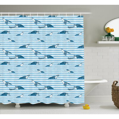 Ogden Turtle Blue Aquatic Shower Curtain Size: 69 W x 75 L