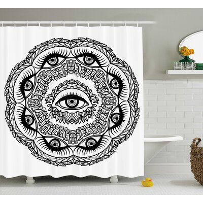 Dayne Floral Crown Astrology Shower Curtain Size: 69 W x 75 L