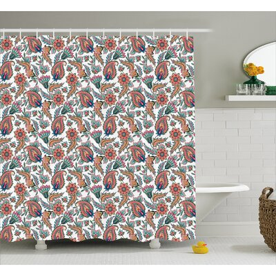 Barclee Indian Flowers Leaves Shower Curtain Size: 69 W x 70 L