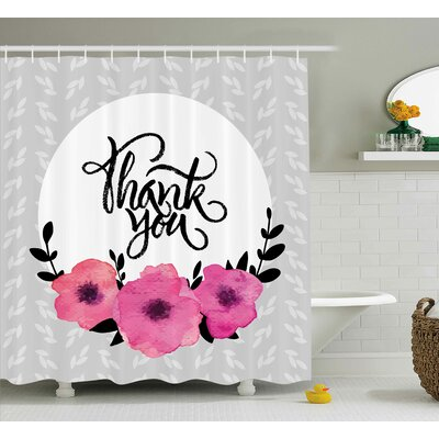 Gustavo Thank You Decor Rounded Shower Curtain Size: 69 W x 70 L