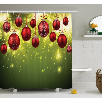Christmas Red and Gold Party Shower Curtain Size: 69 W x 84 L