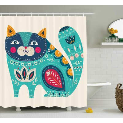 Rohan Paisley India Style Cat Shower Curtain Size: 69 W x 75 L