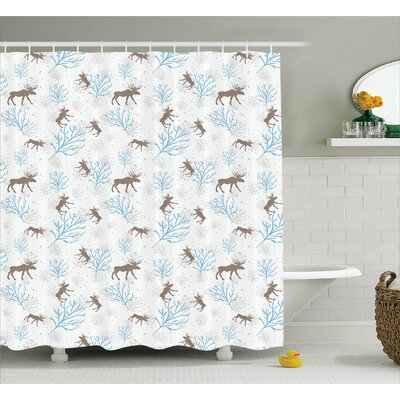 Hanover Winter Retro Forest Shower Curtain Size: 69 W x 70 L