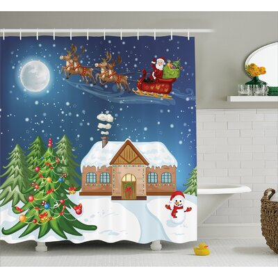 Christmas Santa with Rudolf Shower Curtain Size: 69 W x 70 L