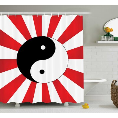 Red Ying Yang Pop Art Asian Shower Curtain Size: 69 W x 70 L