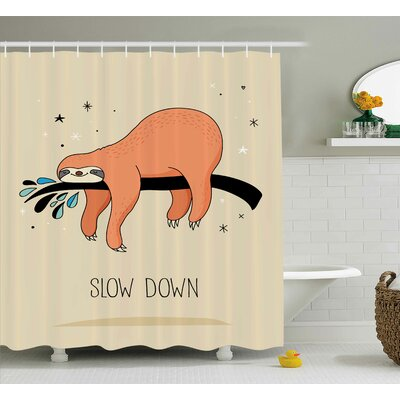 Estes Sleepy Sloth Cartoon Shower Curtain Size: 69 W x 84 L