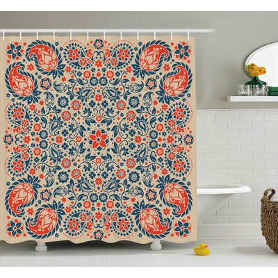 Darcey Cultural Folk Persian Shower Curtain Size: 69 W x 75 L
