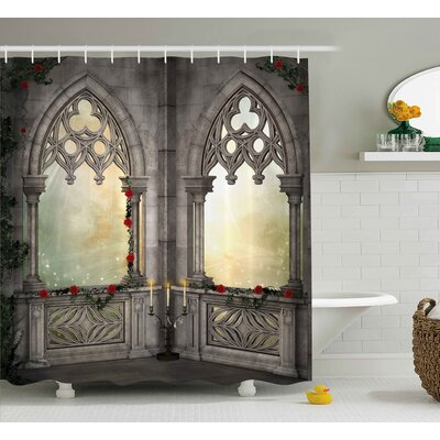 Gothic Oriental Rose and Flower Shower Curtain Size: 69 W x 75 L