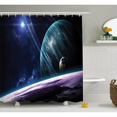 Space Universe with Planets Shower Curtain Size: 69 W x 84 L