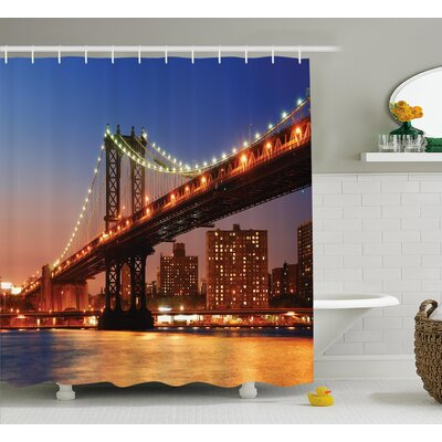 View Manhattan Bridge at Night Shower Curtain Size: 69 W x 75 L