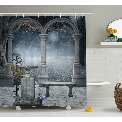 Gothic Fictional Mythic Stones Shower Curtain Size: 69 W x 70 L