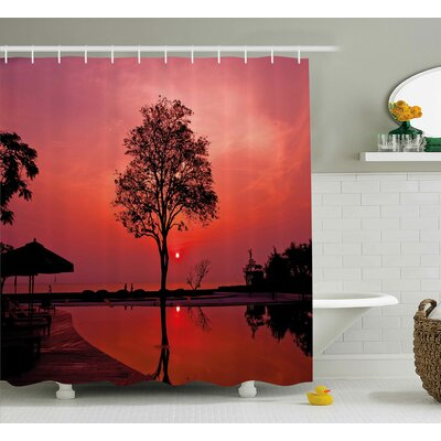 Sunrise Twilight Sky with Tree Shower Curtain Size: 69 W x 70 L