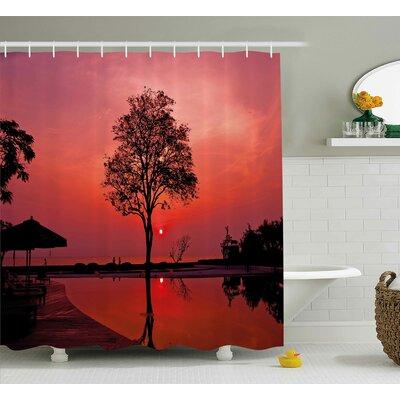 Sunrise Twilight Sky with Tree Shower Curtain Size: 69 W x 84 L