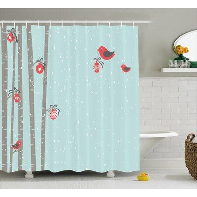 Christmas Cute Red Bird Winter Shower Curtain Size: 69 W x 84 L