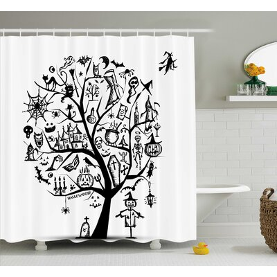 Halloween Decor Flying Witch Shower Curtain Size: 69 W x 84 L