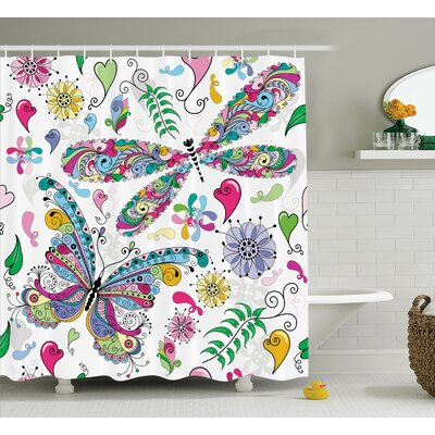 Lottie Paisley Dragonfly Shower Curtain Size: 69 W x 70 L