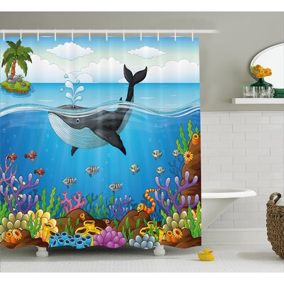 Lottie Whale in Ocean Planet Shower Curtain Size: 69 W x 84 L
