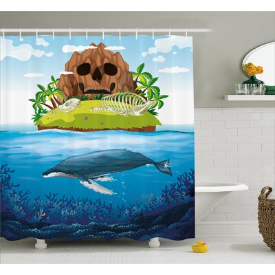Whale Hand Drawn Ocean Rainbow Shower Curtain Size: 69 W x 75 L