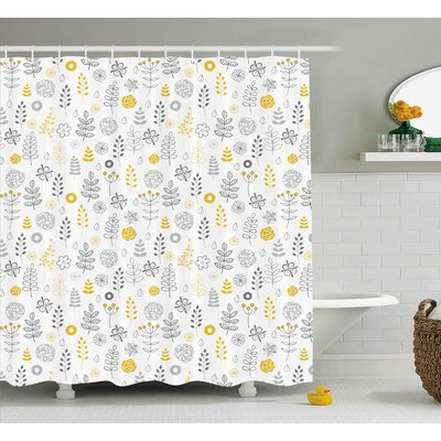 Dylon Wild Forest Leaf Flowers Shower Curtain Size: 69 W x 75 L