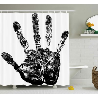 Georgie Grunge Motley Hand Stamp Shower Curtain Size: 69 W x 84 L