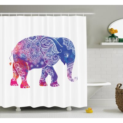 Alep Ethnic Elephant Figure Shower Curtain Size: 69 W x 75 L