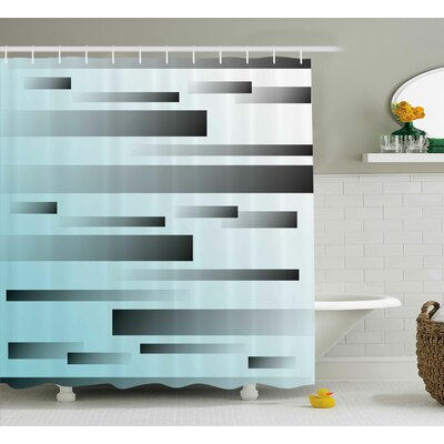 Alessandra Abstract Lines Sci Fi Shower Curtain Size: 69 W x 75 L