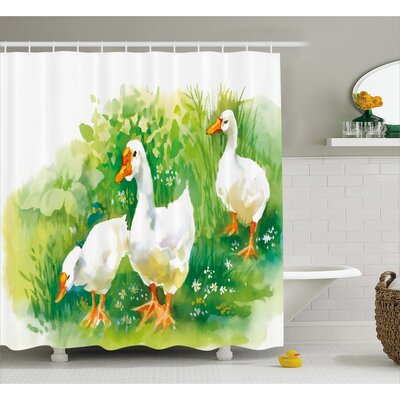 Burhill Goose Farm Lake Plants Shower Curtain Size: 69 W x 75 L