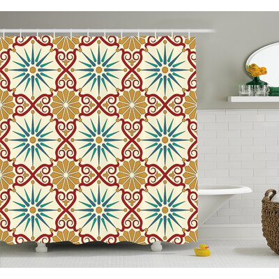 Ari Islamic Geometric Forms Shower Curtain Size: 69 W x 75 L
