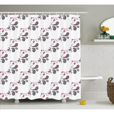 Hudson Abstract Ivy Patterns Print Shower Curtain Size: 69 W x 70 L