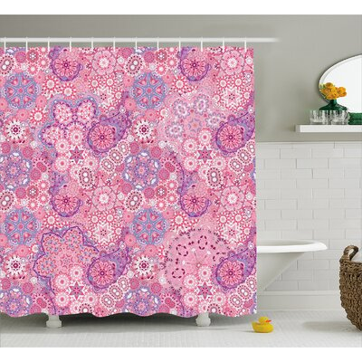 Khalid Ethnic Indian Flower Shower Curtain Size: 69 W x 70 L
