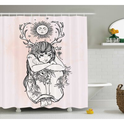 Pink Occult Girl under Sun Shower Curtain Size: 69 W x 75 L