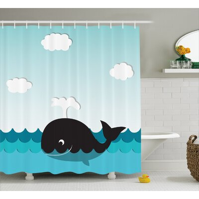 Lottie Whale in Wavy Ocean Shower Curtain Size: 69 W x 84 L