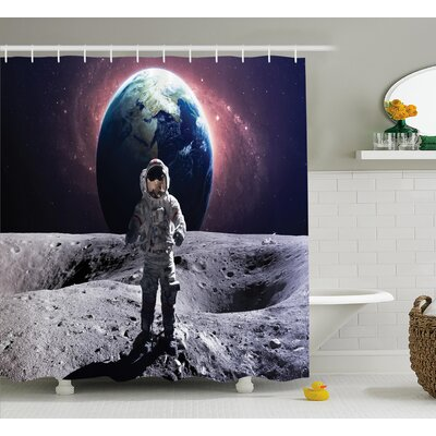 Space Brace Astronaut Cosmos Shower Curtain Size: 69 W x 70 L