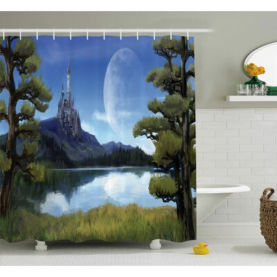 Fantasy Riverside Lake Scene Print Shower Curtain Size: 69 W x 84 L