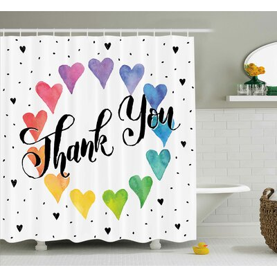 Romantic Thank You Decor Color Shower Curtain Size: 69 W x 70 L