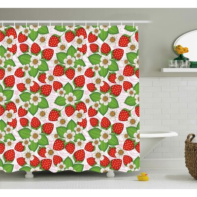 Burleigh Floral Strawberry Scene Shower Curtain Size: 69 W x 75 L