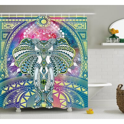 Alep Ancient Deity Elephant Shower Curtain Size: 69 W x 75 L