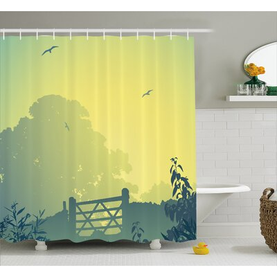 Waverly Clouds Trees Gulls Shower Curtain Size: 69 W x 70 L