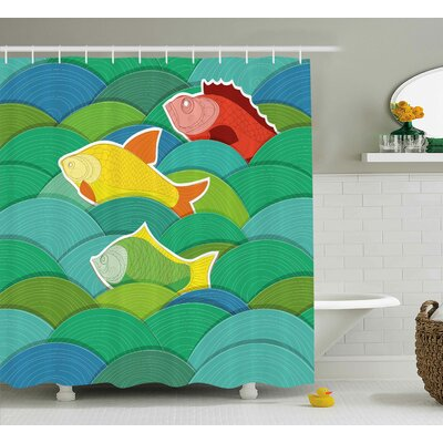 Gunner Sea Marine Waves Funky Shower Curtain Size: 69 W x 75 L